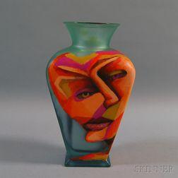 Richard Budman Glass Face Vase