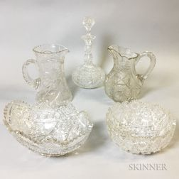 Five Colorless Cut Glass Vessels