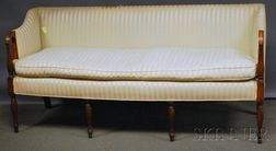 Federal-style Upholstered Square-back Inlaid Mahogany Sofa