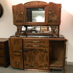 Art Deco Walnut Veneer Marble-top Mirrored Sideboard
