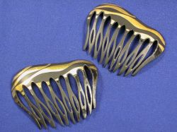Pair of Patinated Metal and Gilt Hair Combs, Tiffany & Co.