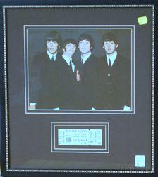 Framed August 18, 1966 Beatles at Suffolk Downs Concert Ticket