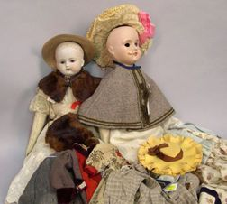 Two Early Dolls and Lot of Period Doll Clothes