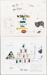 Roger Swike (American, Mid to Late 20th Century)      Two Works: Untitled
