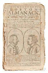West, Benjamin (1730-1813) Bickerstaff's Boston Almanack.