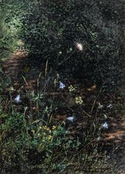Léon Bonvin (French, 1834-1866)      Wildflowers on a Wooded Path