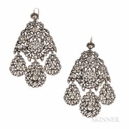 Antique Silver and Paste Girandole Earrings
