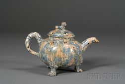 Staffordshire Lead Glazed Solid Agate Teapot and Cover