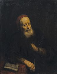 School of Abraham van Dyck (Dutch, 1635-1672)      Portrait of an Ancient Bearded Man in a Red Skull Cap