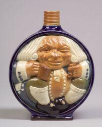 Doulton Lambeth Stoneware Toby Moon Flask