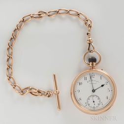 18kt Gold H.L. Boddington Open-face Watch with Chain