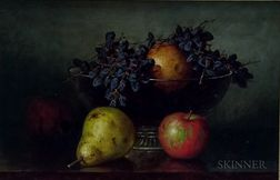 Frederick Stone Batcheller (American, 1837-1889)      Still Life with Fruit in a Footed Glass Bowl