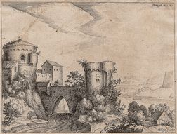 Jacques de Gheyn II (Dutch, 1565-1629), After Pieter Bruegel the Elder (Flemish, c. 1525-1569)      River Landscape with Castle