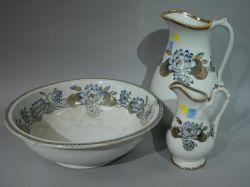 Three-Piece Lotus Lily Transfer Pattern Ceramic Chamber Set.