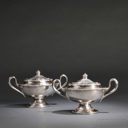 Pair of George III-style Sterling Silver Sauce Tureens and Covers