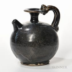 Black-glazed Blue-splashed Stoneware Ewer