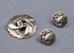 Sterling Silver Brooch and Earrings, Georg Jensen