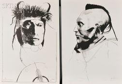 Leonard Baskin (American, 1922-2000)      Two Native American Portraits:  Chief Wets It Assinnboine