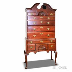 Queen Anne Carved Walnut Bonnet-top High Chest