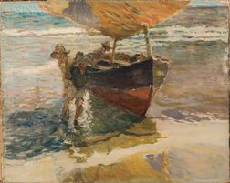 Arthur Clifton Goodwin (American, 1866-1929)      Two Men Beaching a Fishing Boat
