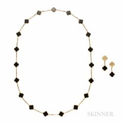 18kt Gold and Onyx Necklace and Earrings