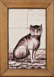 Six Tile Dutch Delft Cat Portrait