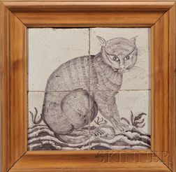 Four Tile Dutch Delft Cat Portrait