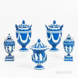 Five Wedgwood Dark Blue Jasper Covered Urns