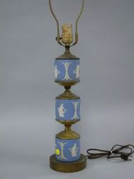 Wedgwood Three-part Light Blue Jasper Table Lamp