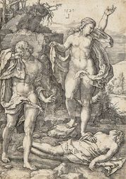 Lucas van Leyden (Dutch, 1494-1533)      Adam and Eve Lamenting the Dead Abel