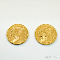 1914-D and a 1913 Indian Head Two and a Half Dollar Gold Coins.     Estimate $400-600