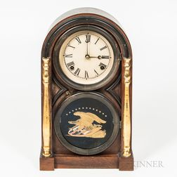 Atkins Clock Co. Gilt Rosewood Veneer Shelf Clock