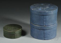 Three Round Painted Lap-seam Pantry Boxes
