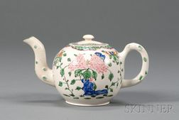 Staffordshire Enameled White Saltglazed Stoneware Teapot and Cover