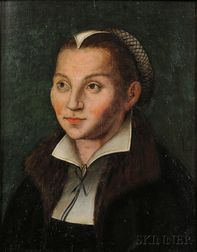 School of Lucas Cranach the Elder (German, c. 1472-1553)      Portrait of Katharina von Bora
