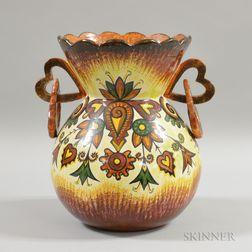 Large P. Fouillen Quimper Pottery Vase