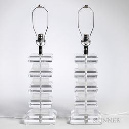 Pair of Karl Springer Style Table Lamps