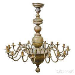 Large Cast Metal Twenty-light Chandelier