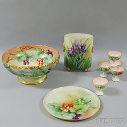 Eight Pieces of Hand-painted Limoges Porcelain