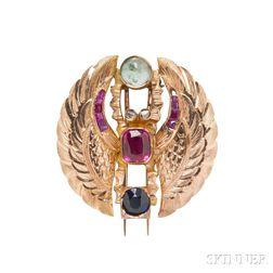 14kt Gold Gem-set Scarab Brooch