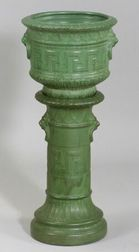 Art Pottery Matte Green Glazed Jardiniere and Pedestal