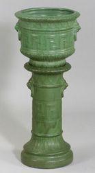 Art Pottery Matte Green Glazed Jardiniere and Pedestal