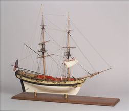 1941 Carved and Painted Wooden Sailing Ship Model Fair American