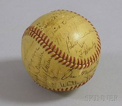 1942 Brooklyn Dodger Team Autographed Baseball