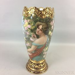 Large German Porcelain Portrait Vase