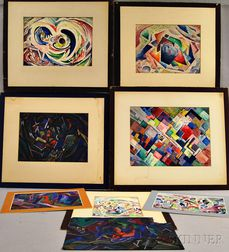 Leighton Cram (American, 1895-1981)      Eight Modern Landscapes