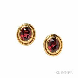 18kt Gold and Garnet Earrings, Bulgari