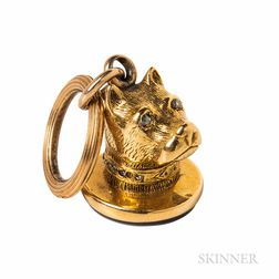 Antique 18kt Gold, Diamond, and Hardstone Fob