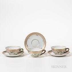 Sixteen Royal Copenhagen Flora Danica Teacups and Saucers