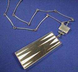 Silver, Ebony, and Ivory Pendant Necklace, Claude Jensen